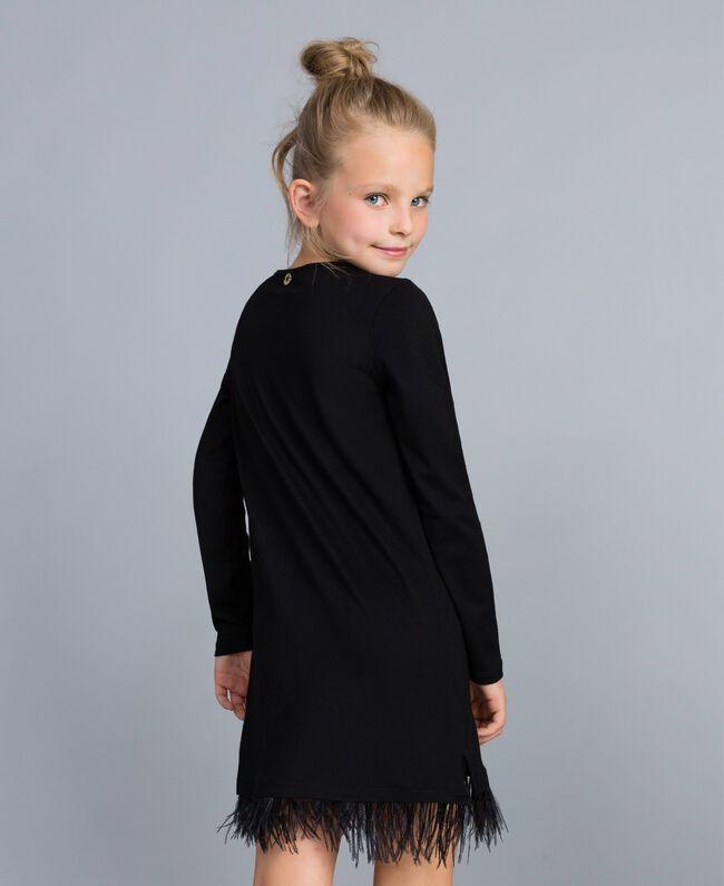 Kleid aus Jersey mit Federn Schwarz Kind GA827A-03