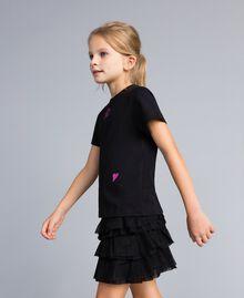 Unisex-T-Shirt für Kinder aus Baumwolle mit Print Schwarz Kind QA8TMP-03
