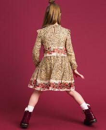 Kleid aus Georgette mit Animal- und Blumenprint Print Leopard / Blumen Kind 192GJ2572-03