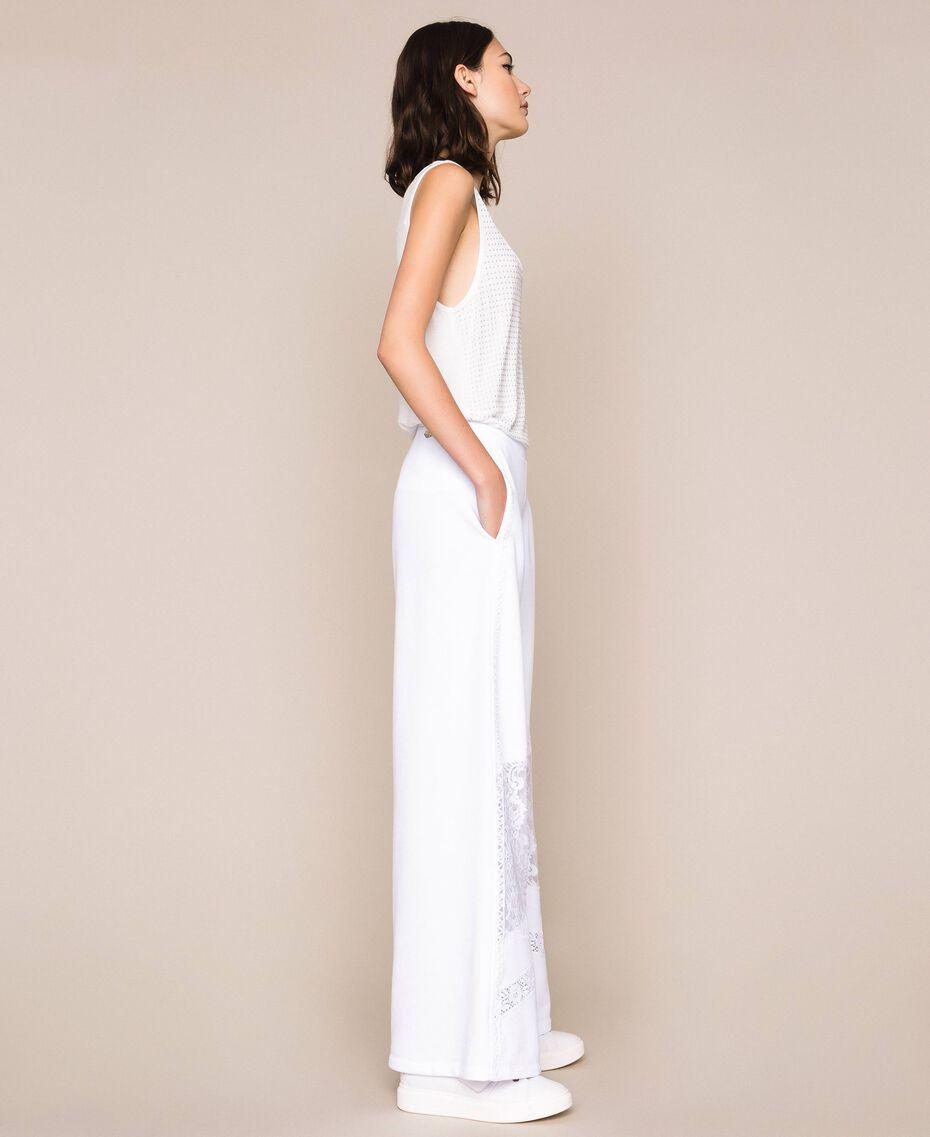 Pantaloni a palazzo in felpa con pizzo Bianco Donna 201LL2LLL-02