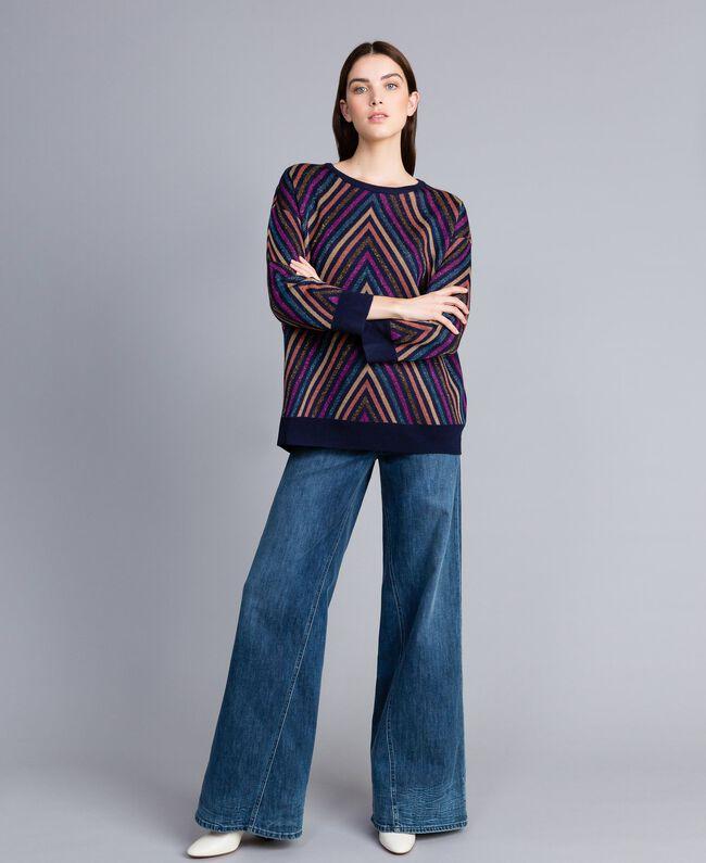 Pullover aus Lurexjacquard mit mehrfarbigem Streifenmuster Jacquard Blau / Lurexstreifen Frau TA838H-04