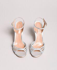 Sandales en cuir tressé laminé Argent / Nickel Femme 191TCT01J-05