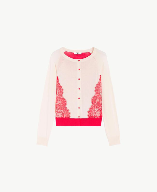 "Lace cardigan Two-tone Cherry Red / ""Peach Powder"" Pink Woman LS8BNN-01"