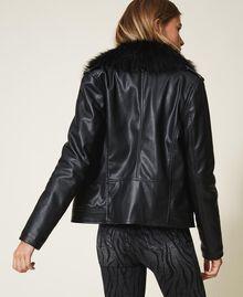 Faux leather biker jacket Black Woman 202MP2090-03