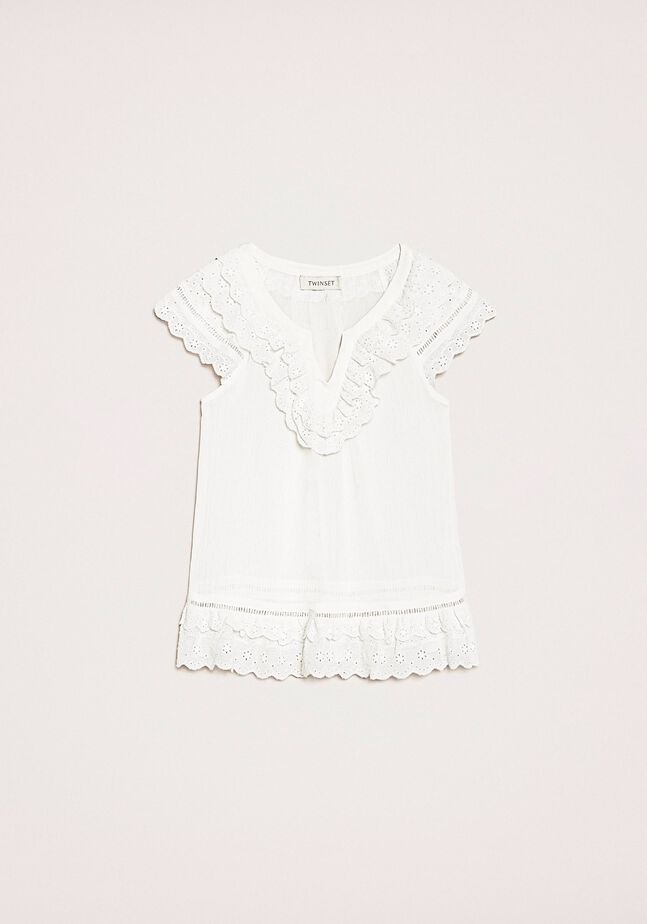 Creponne top with broderie anglaise