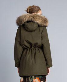 Parka en drap avec col en fourrure Vert Forêt Femme TA821D-05