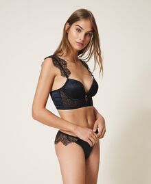 Lace and satin bustier Black Woman 202LL6H00-03