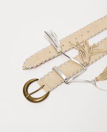 Cinturón de ante Bicolor Gris «Titanio» / Beige «Cremino» Mujer 201TA4341-02