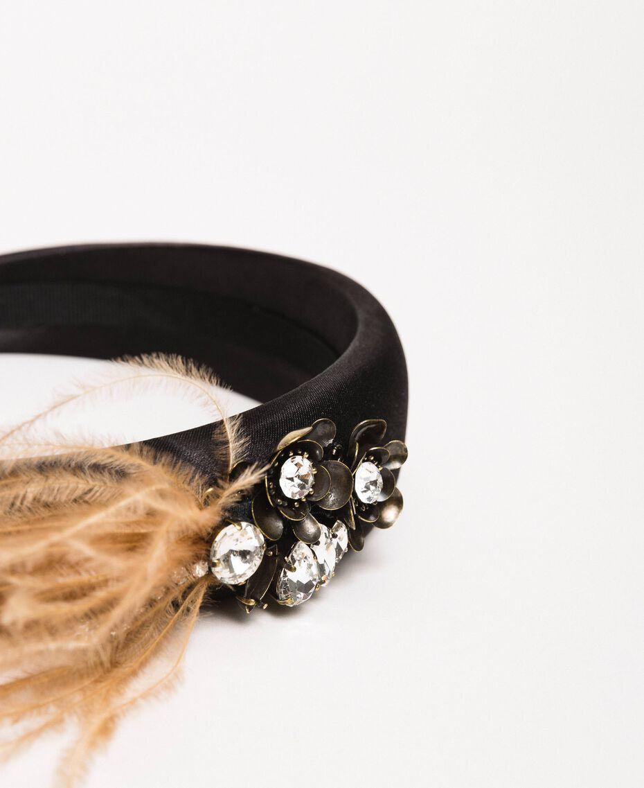 Bandeau en satin avec pierres, plumes et strass Noir Femme 201TA4301-02