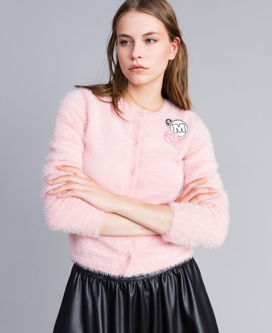 Cardigan in fur knit con spille Rose Cloud Donna JA83GB-02