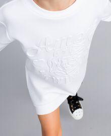 Minikleid aus Baumwollmischung mit Grafik Mattweiß Kind GA82LK-04
