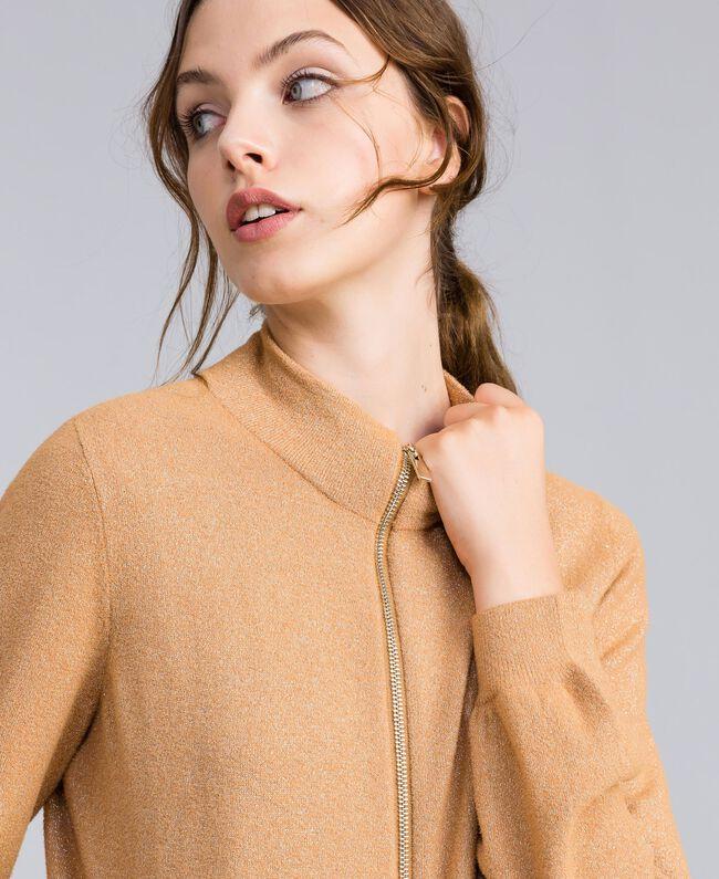"""Lurex yarn cardigan """"Amber Dust"""" Brown Woman IA82HH-01"""