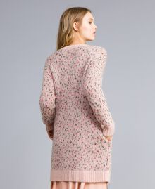 "Long floral and polka dot cardigan ""Pale Pink"" Flower Jacquard Woman TA83CB-03"