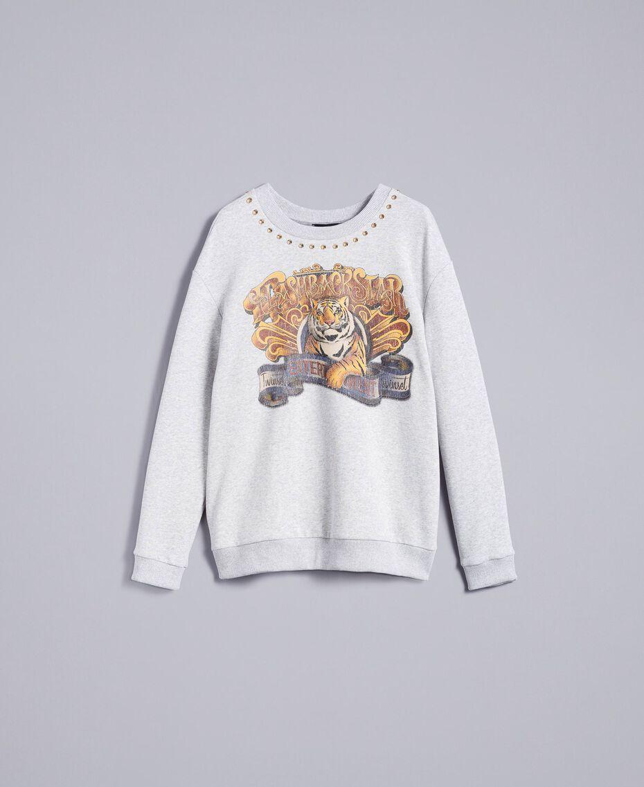 Printed cotton sweatshirt Melange Grey Woman TA82ZB-0S
