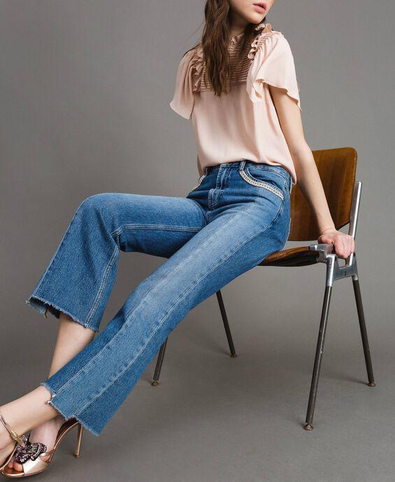Bell-Bottom-Jeans mit Kontrasteinsätzen