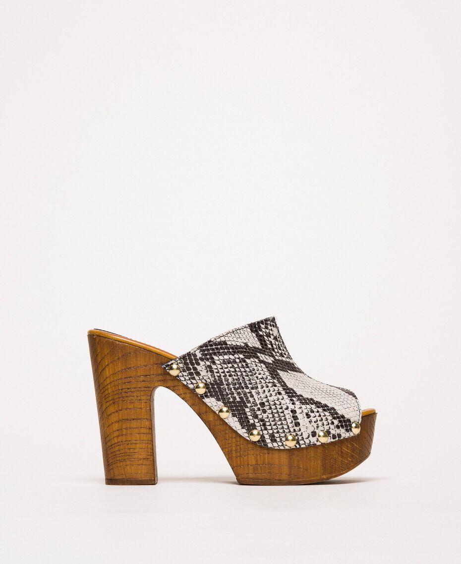Animal print faux leather sabots White Python Print / Black Woman 201MCT01J-02