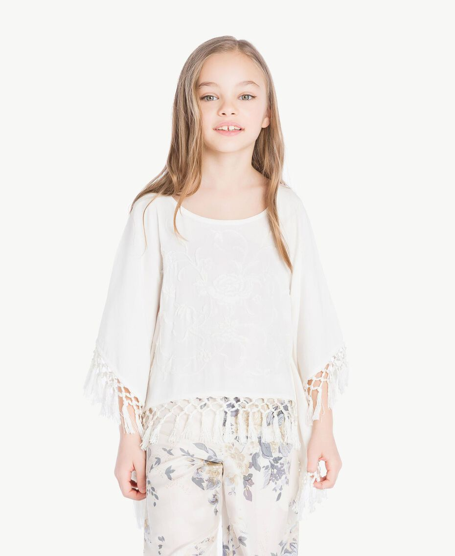 Fringed poncho Pale Cream Child GS82NB-02