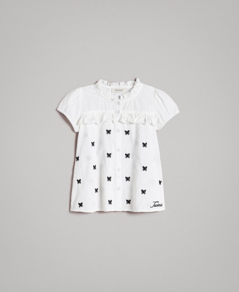 Plumetis shirt with butterflies Optical White / Black Embroidery Child 191GJ2371-01