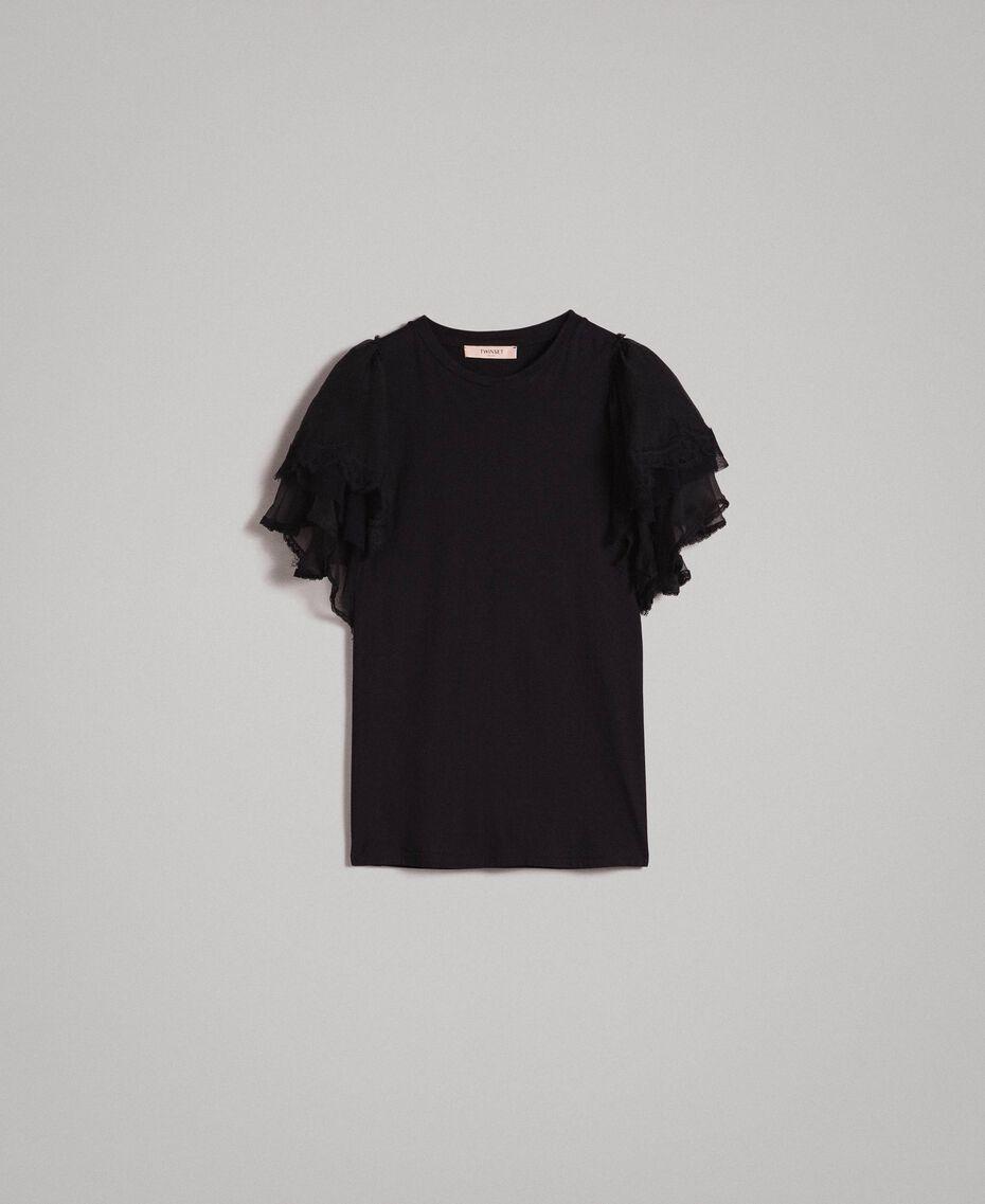 T-Shirt mit Maxiärmeln Schwarz Frau 191TP2601-0S