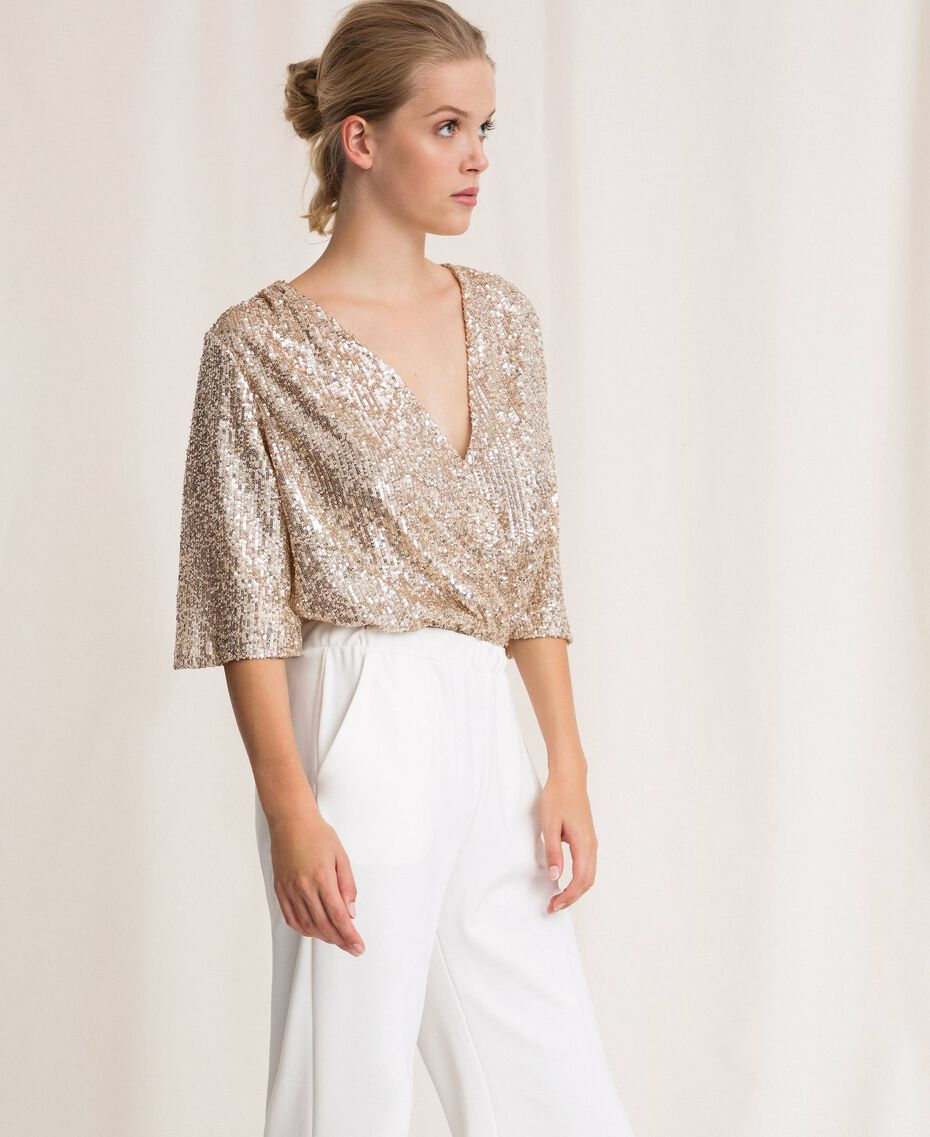 Jumpsuit with criss-cross and sequins Ivory Woman 201LB21CC-02