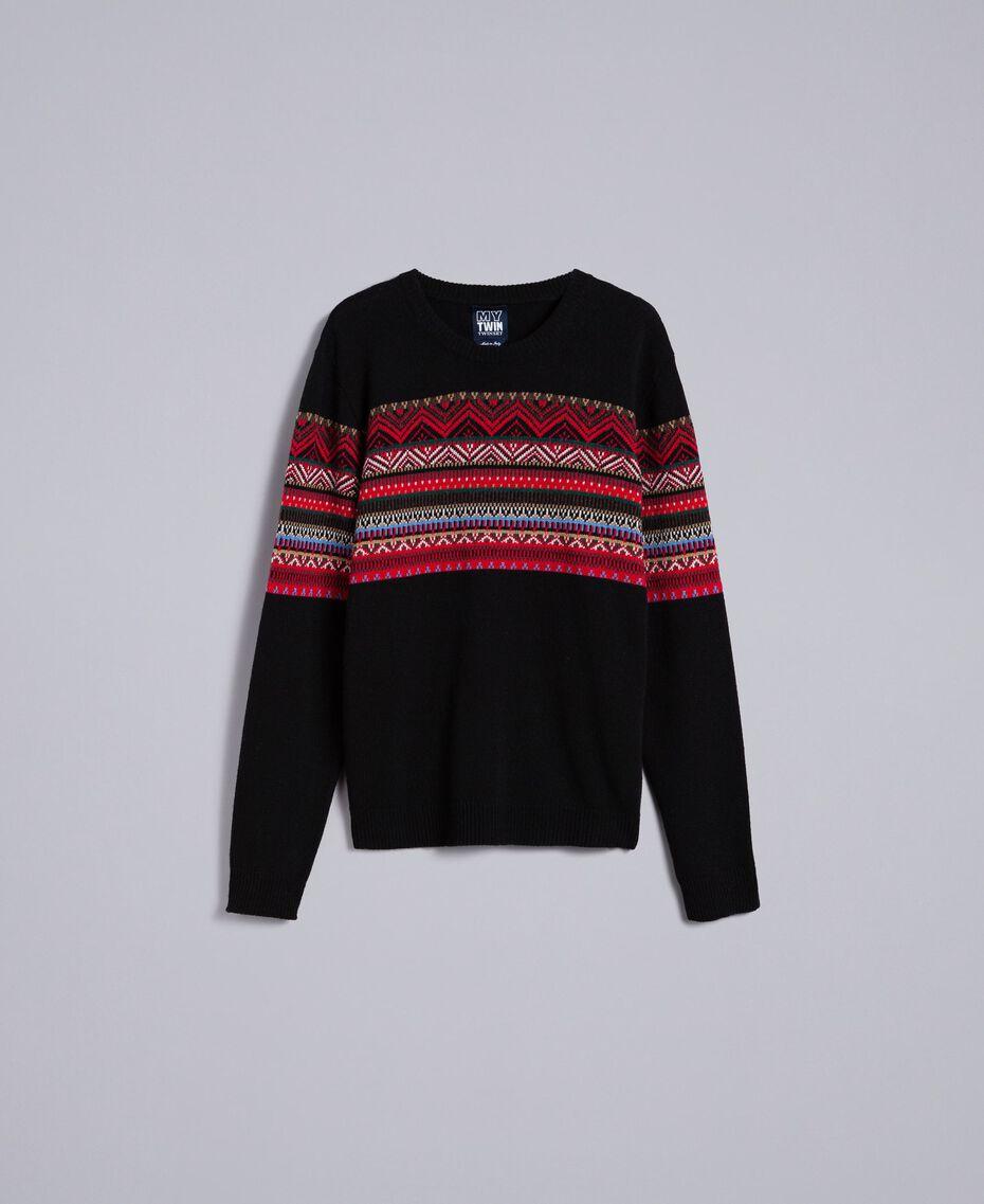 Pull en laine mélangée jacquard multicolore Jacquard Noir / Noir Homme UA83HP-0S