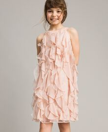 Georgette and organza ruched dress Blossom Pink Child 191GJ2QD1-0S