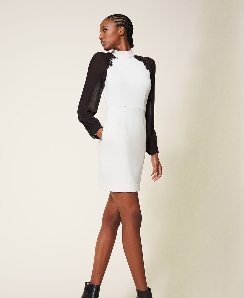 Sheath dress with lace Parchment White Woman 202TT2280-02