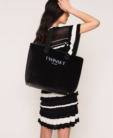 Borsa shopper in velluto con pochette Nero Donna 999TA7010-0S