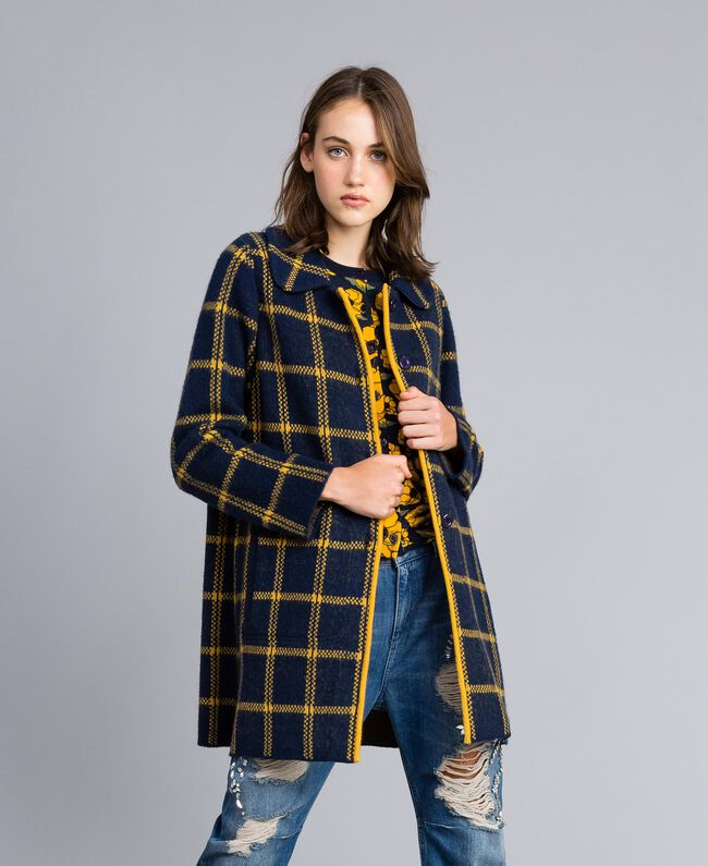 "Cappotto jacquard check allover Bicolor Blue Night / Giallo""Golden Yellow"" Donna YA83HA-01"