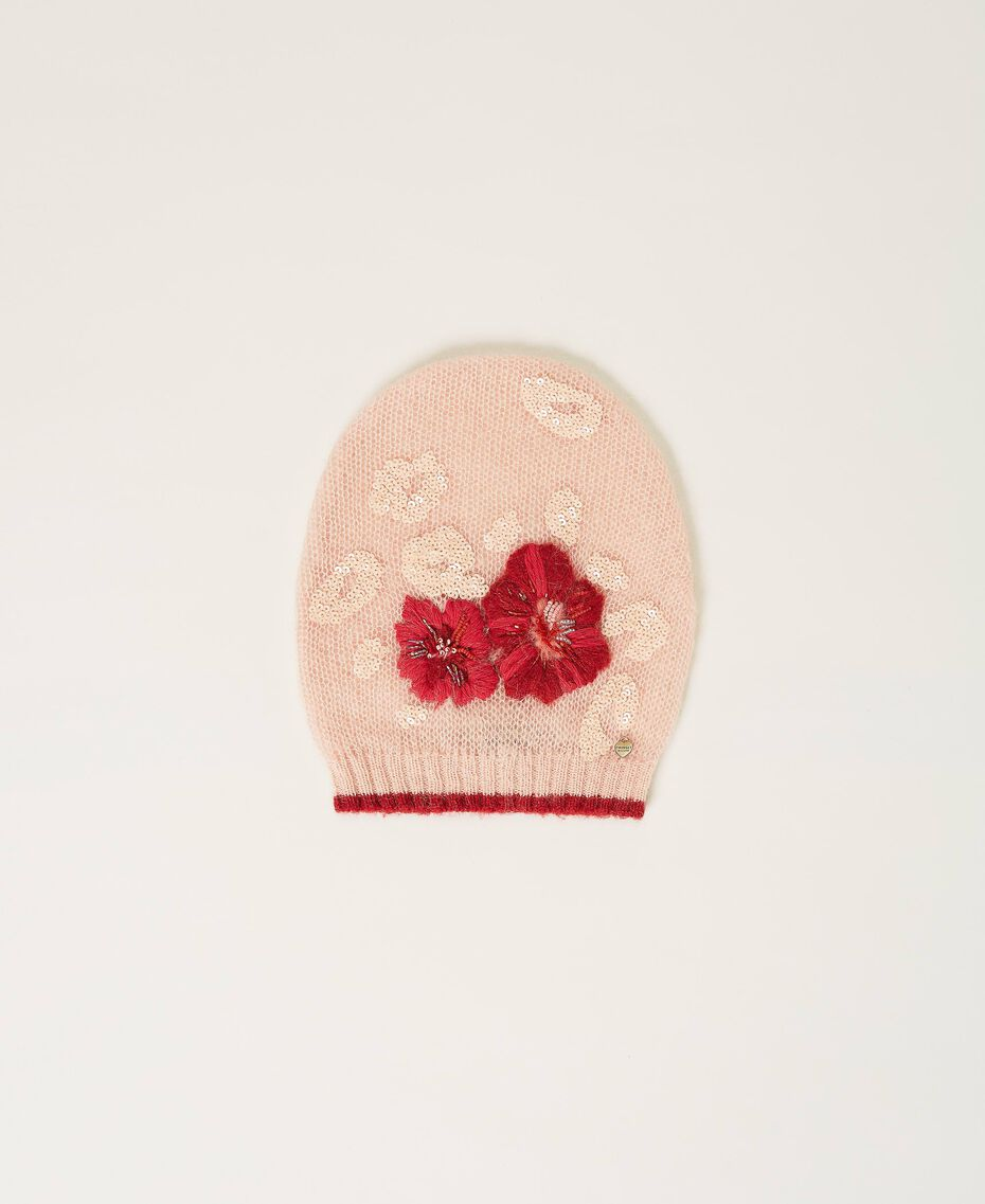 Knit beanie with flowers and sequins Peach Woman 202TA4410-01