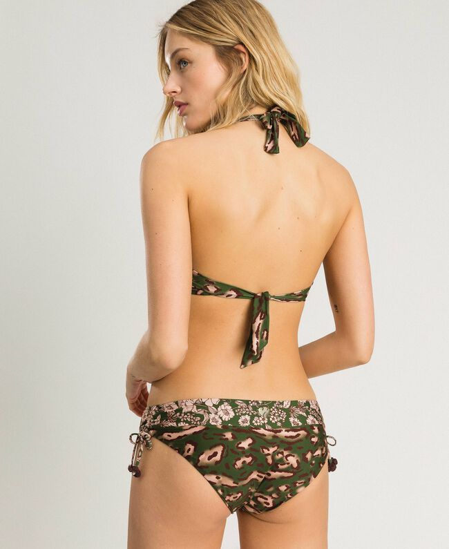 Mixed print bikini bottom with drawstring Amazon Green Animal Print Woman 191LMMU99-03