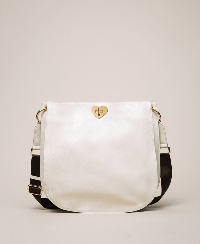 Leather hobo bag with heart White Snow Woman 201TA7050-01