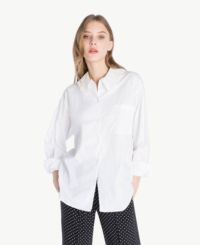 Bluse mit Häkelverarbeitung Weiß Frau PS826Q-01