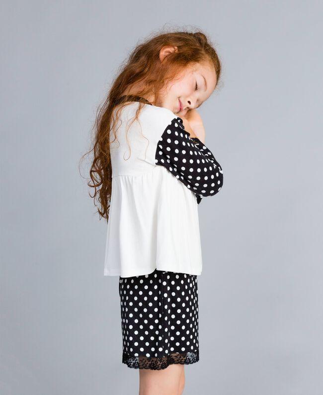 Pyjama en jersey à pois Bicolore Noir / Imprimé Pois Noir Enfant GA828D-03