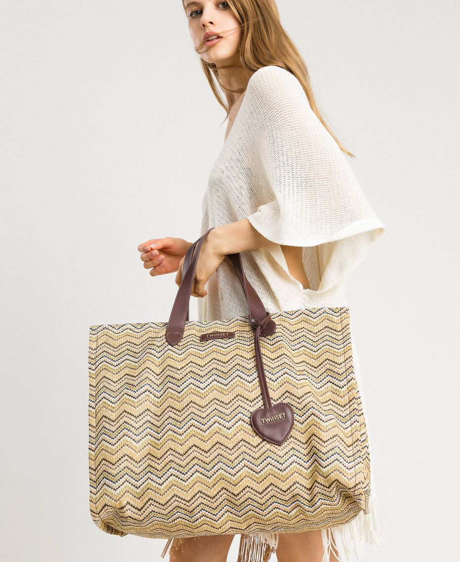 """Oversized straw-effect shopping bag Multicolour """"Milkyway"""" Beige / """"Petra Sandstone"""" Brown / Ivory Woman 191LM4ZCC-0S"""