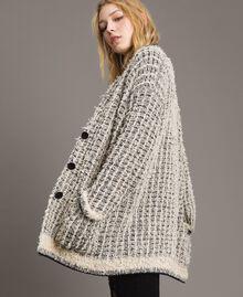 Lurex yarn maxi mandarin collar cardigan Two-tone Ecru Vrillé Woman 191TP3321-02