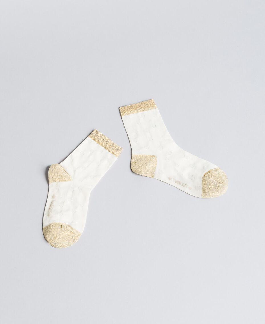 Strümpfe aus Baumwolle mit Lurex Zweifarbig Hellgold / Off White Kind GA8ABS-01