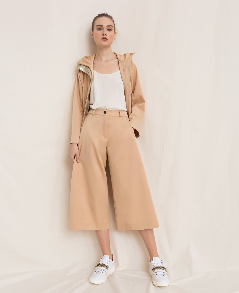 Pantalon cropped avec boutons Beige «Golden Powder» Femme 201LL2CPP-01
