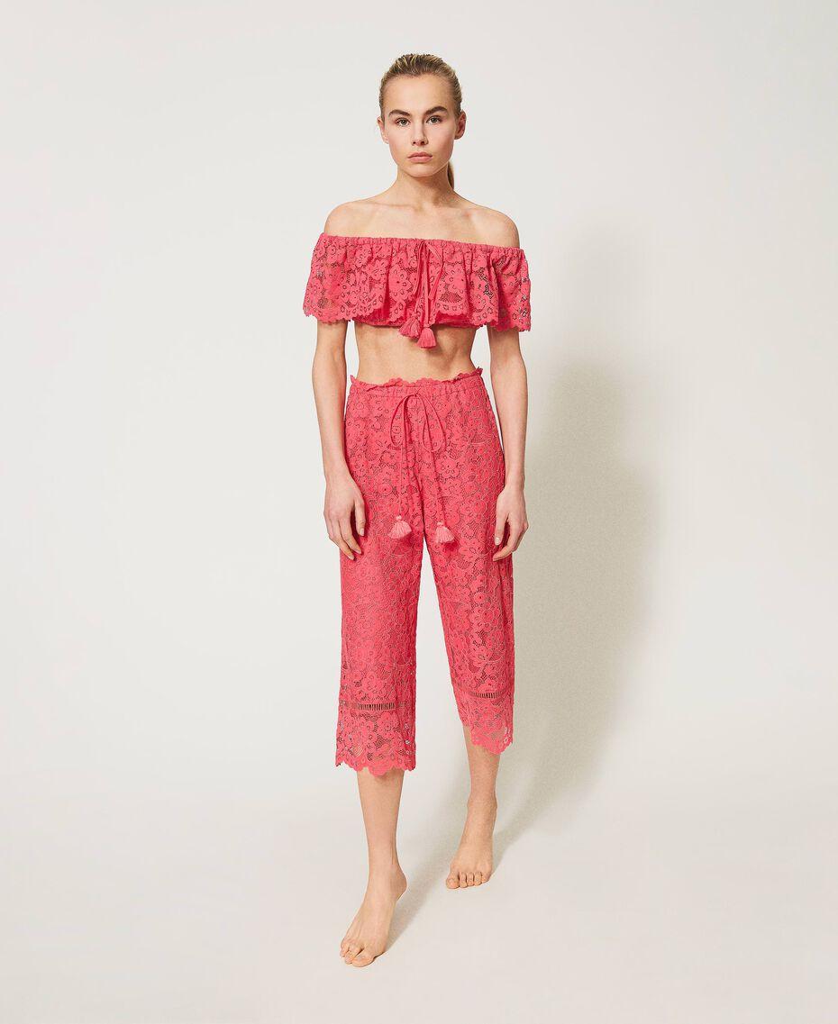 "Macramé lace cropped top ""Cherry Pink"" Woman 211LM2KNN-02"