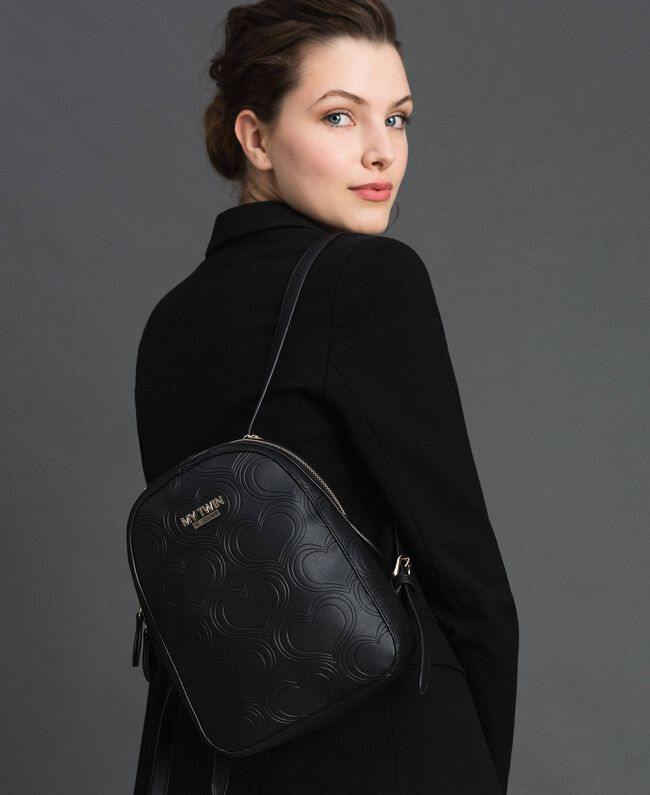 Heart print faux leather backpack Black Woman 192MA7012-0S