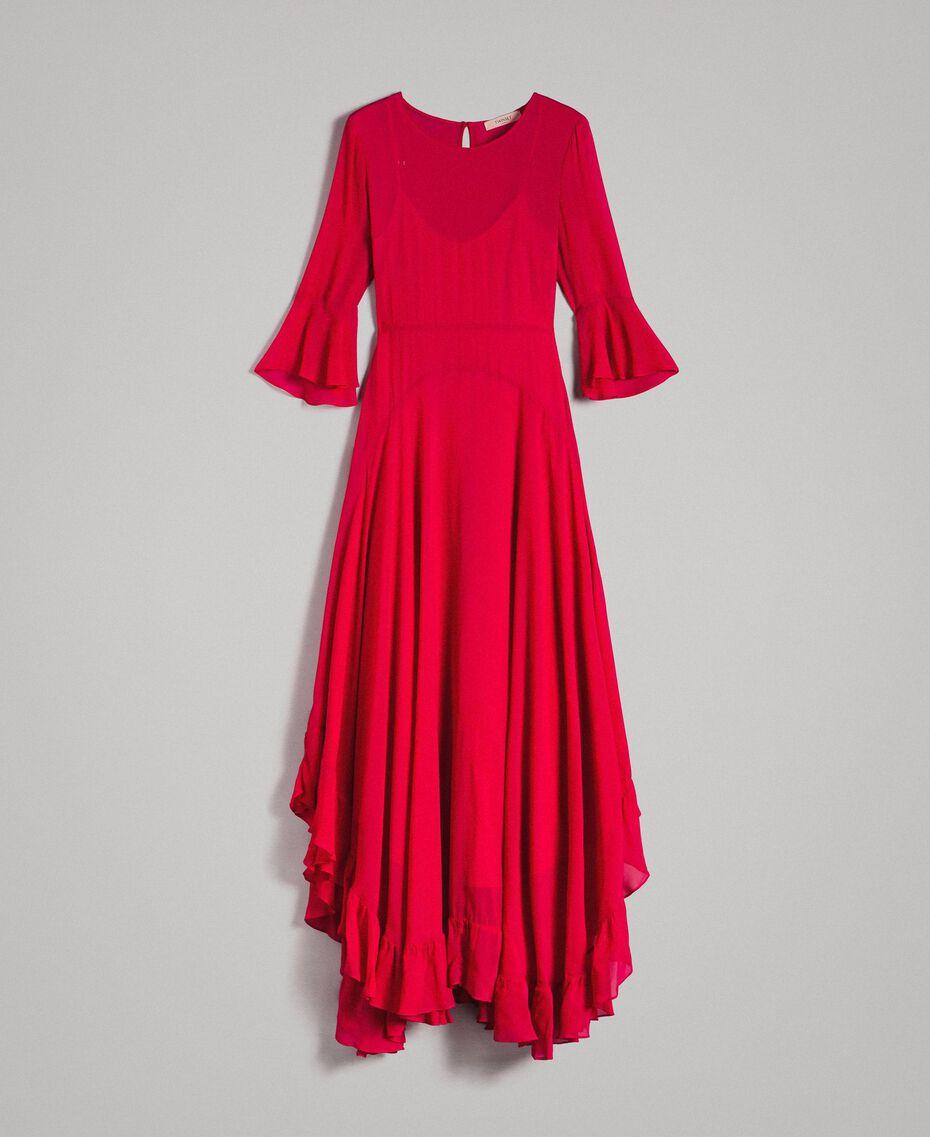 """Robe longue de georgette Fuchsia """"Anémone"""" Femme 191TP2123-0S"""