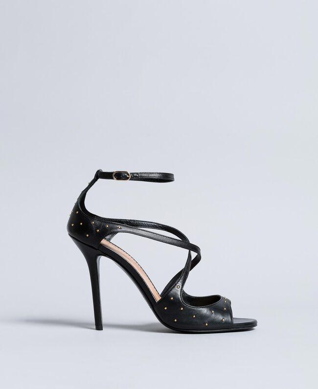 Sandalette aus Leder mit Nieten Schwarz Frau CA8PRA-01