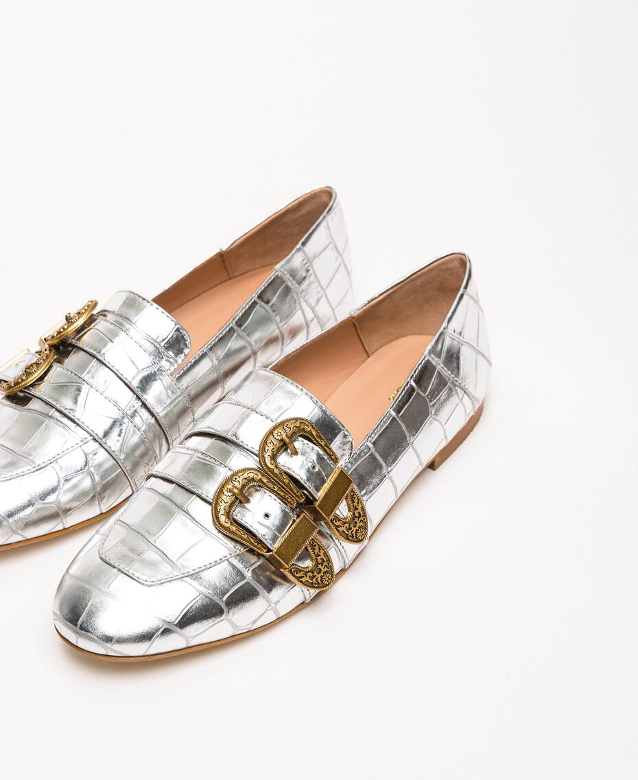 "Leather moccasins with crocodile print ""Titanium"" Grey Croc Print Woman 201TCP050-01"