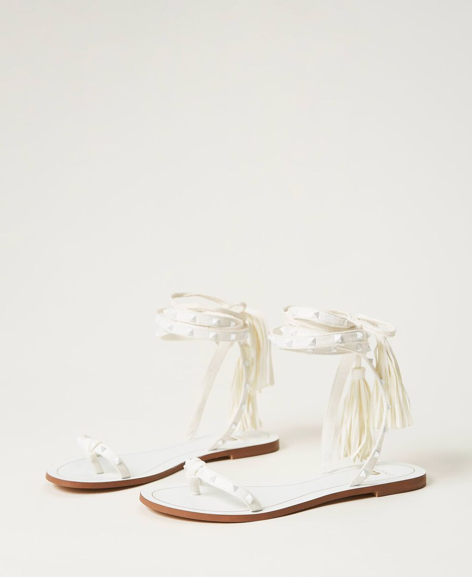 Flat sandals with studs Ivory Woman 211LMPZZZ-03