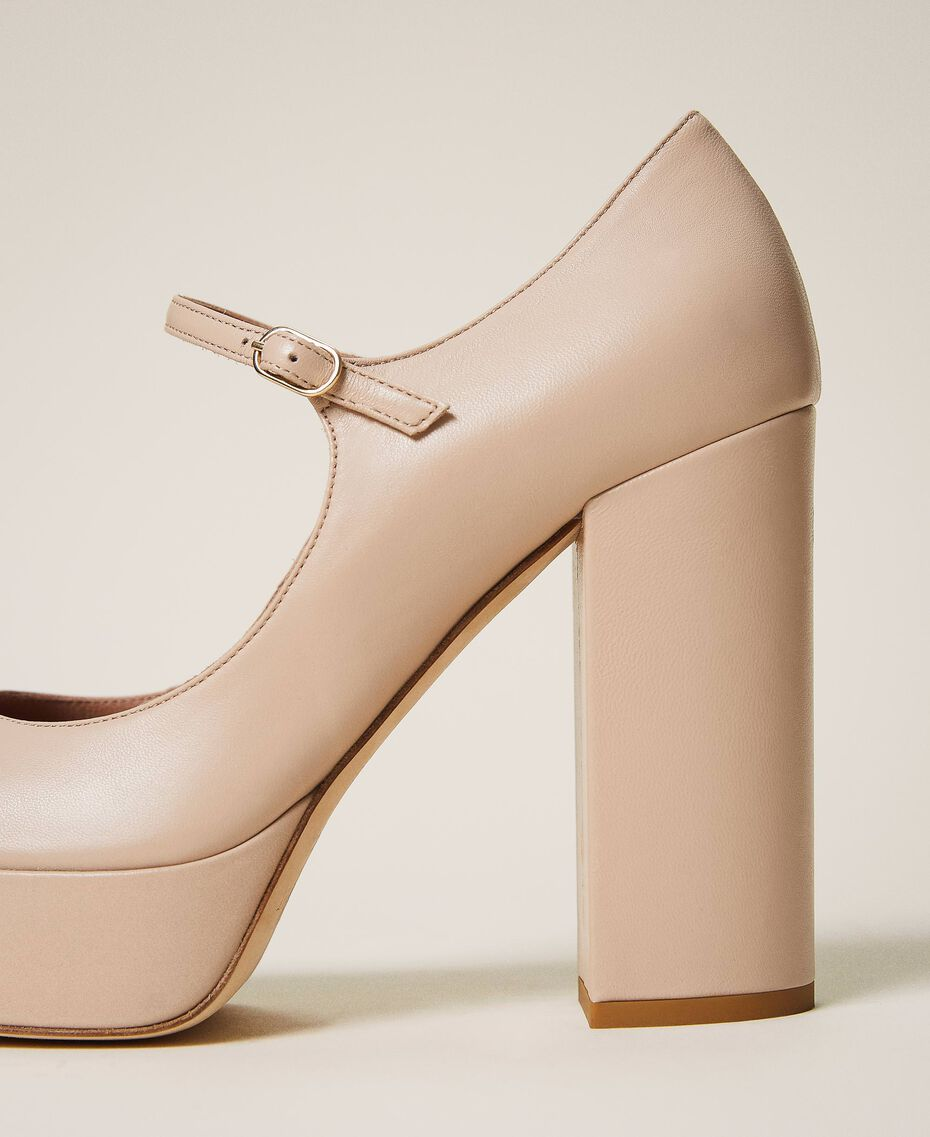 "Platform leather court shoes ""Nude"" Beige Woman 202TCP150-02"
