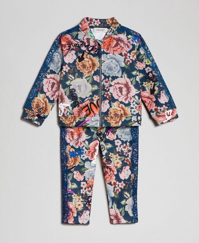 Scuba jumpsuit with floral and graffiti print Graffiti Print Child 192GB2493-01