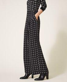 "Printed crêpe de Chine palazzo trousers Black /""Nude"" Beige Optical Print Woman 202ST2508-02"