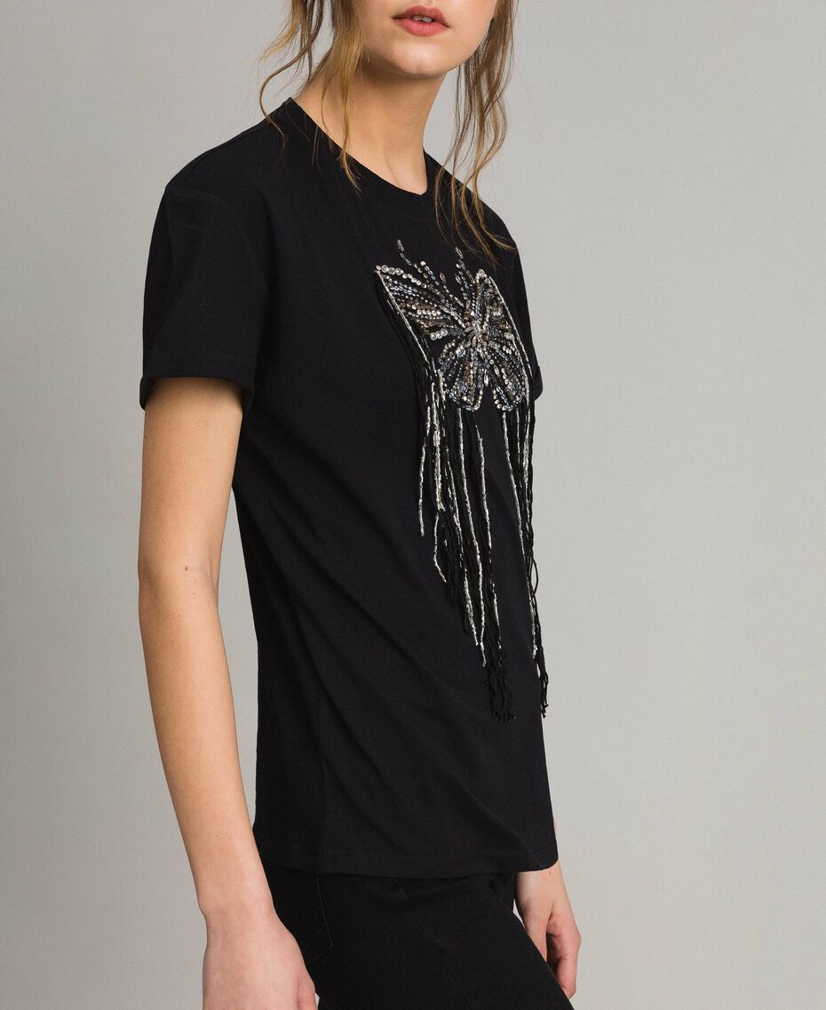 Butterfly embroidery and fringe T-shirt Black Woman 191TP2600-02