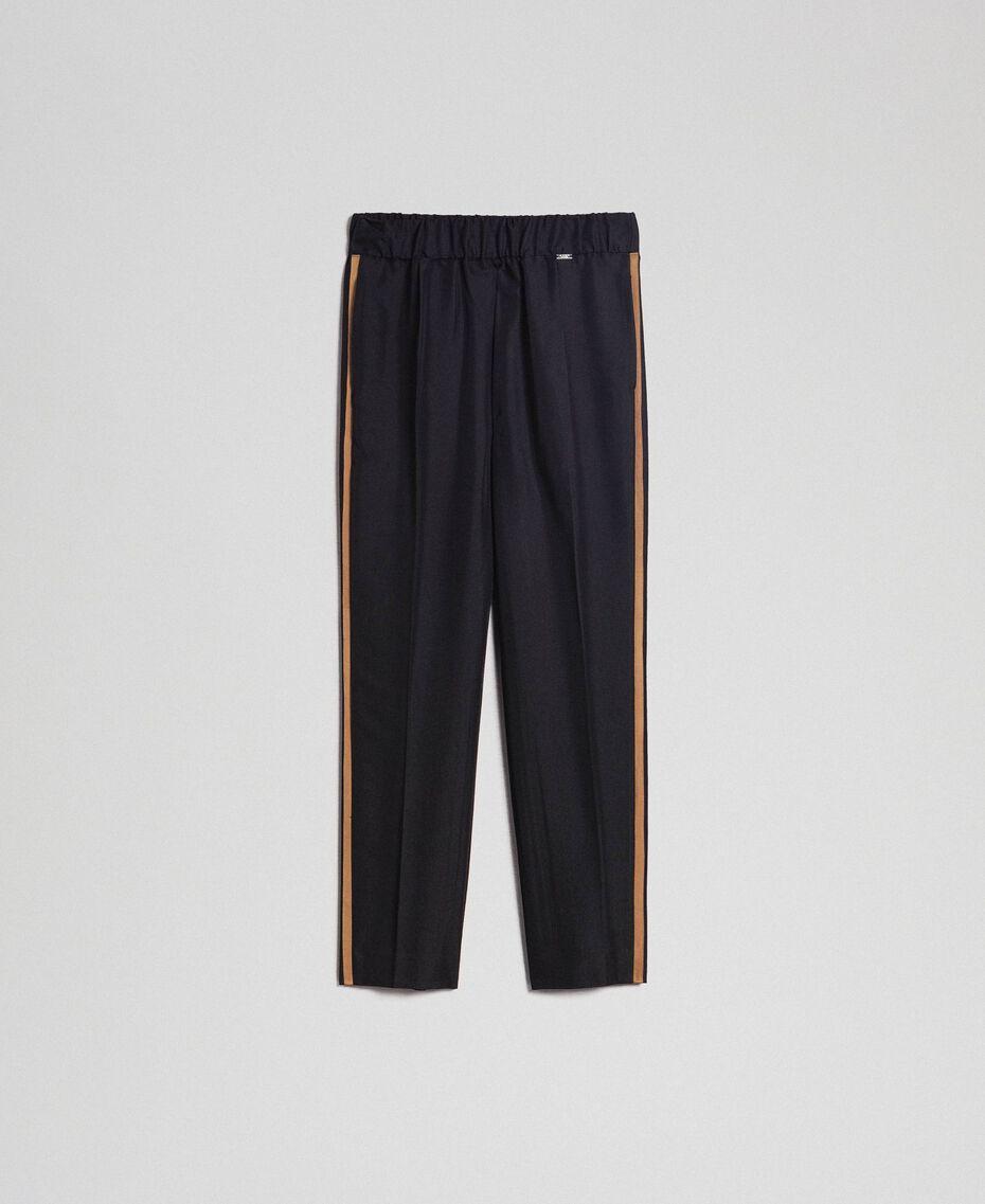 Pantalon cigarette avec bandes contrastées Noir Femme 192ST2201-0S
