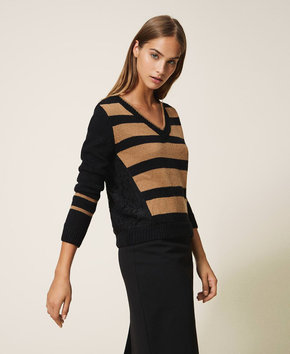 Striped jumper with lace Two-tone Black / Brown Sugar Woman 202ST3051-02